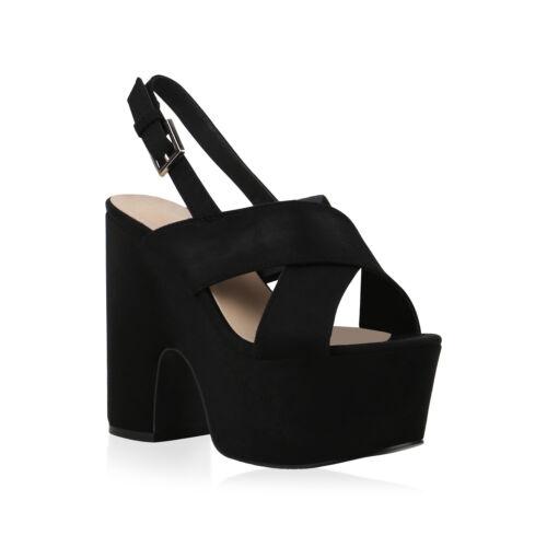 Damen Plateau Sandaletten Blockabsatz Party Schuhe High Heels 830730 Trendy Neu