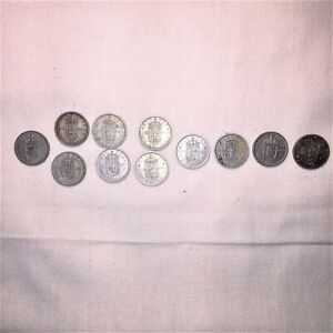 LOT #128: ELEVEN (11) one-shilling silvery 1950's Coins from UK km#904 Elizabeth