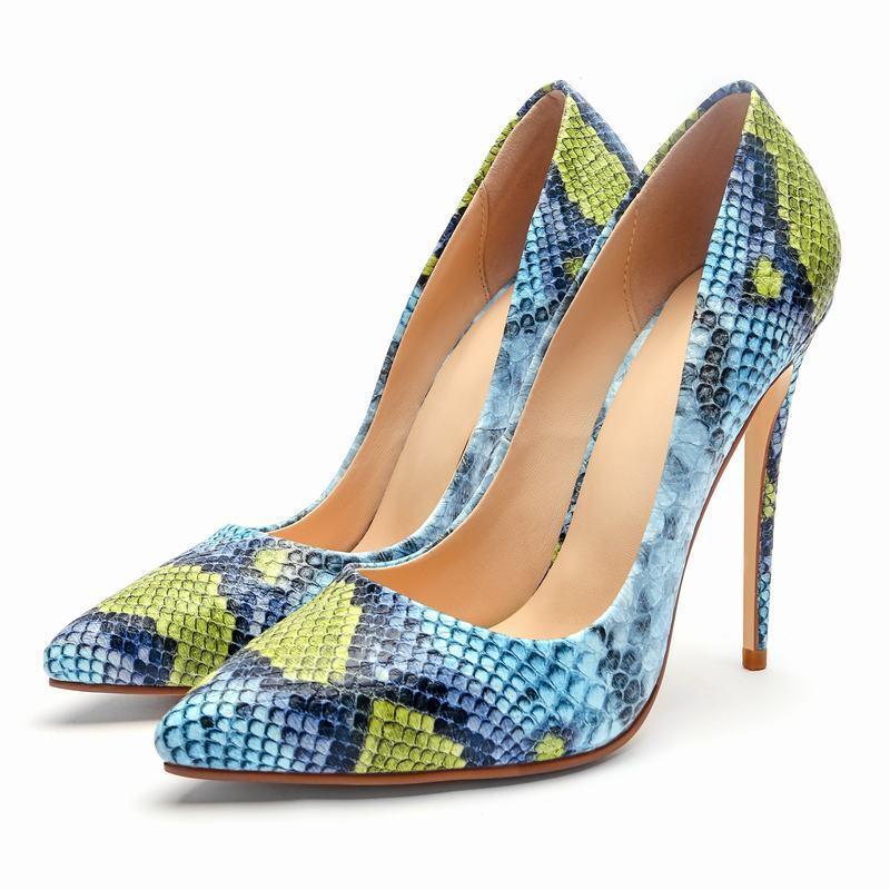 Fashion Womens Womens Womens Pointy Toe Very High Heels Stilettos Snake color Party shoes New efc1a1