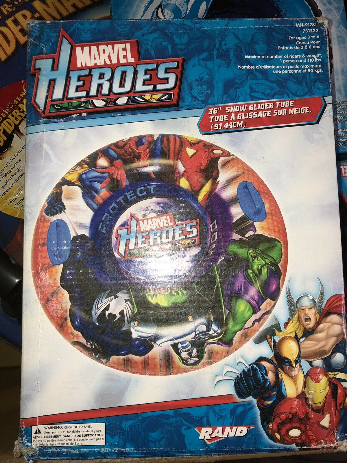 "Marvel Heroes 36"" Snow Tube New In The Box Free Shipping"