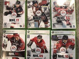 Xbox 360 Hockey Lot! NHL 08, NHL 09, NHL 10, NHL 11, NHL 13, NHL 14-Tested