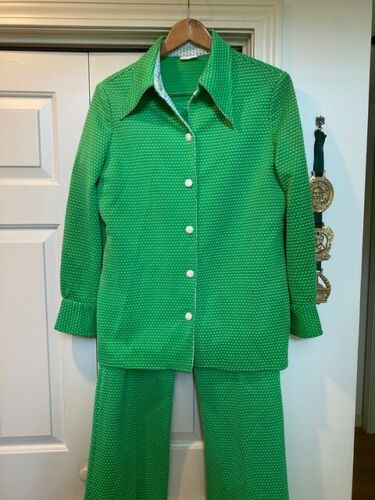 Vintage 70s Womens Polyester Green Polka Dot Two P