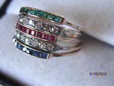 ANTIQUE RUSSIAN PINK GOLD STACKABLE 5 RINGS DIAMOND EMERALD RUBY SAPPHIRE 6.75/7