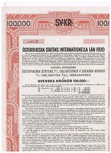 Austrian-Government-International-Loan-1930-Vienna-1930-100-000-Svenska-Kronor