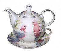 Ceramic Pink Galah Tea For 1 Teapot Cup Saucer - Australian Bird Series