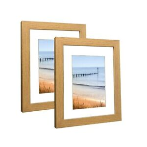 Q.Hou 8x10 Picture Frames Nature Wood Oak Set of 2, with Mat,Display 5x7 Pict...