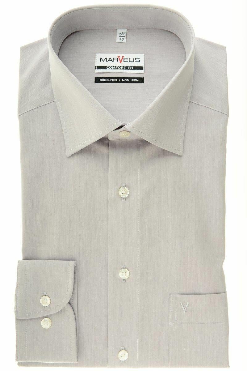 Light Grey Chambray Spread Collar