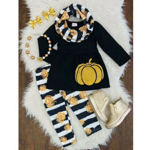 Toddler Kids Baby Girls Pumpkin Dress Stripe Pants Halloween Costume Outfits Set