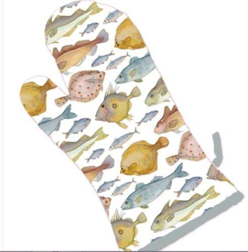 Emma Ball Coastal Design Single Oven Glove Gauntlet Fish Design