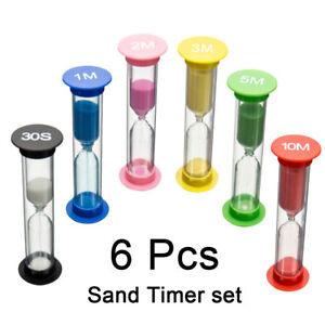 6x-Reloj-de-arena-Arena-Huevo-Tiempo-Minutos-Juegos-de-ensenanza-temporizador