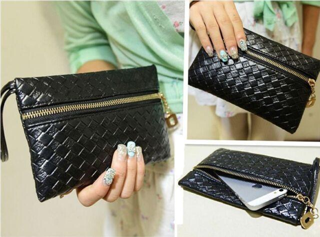 Women's Black PU Leather Handbag Hobo Tote Clutch Handbags Purses Wallets Korean