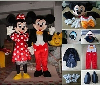 New Mickey & Minnie Mouse Mascot Costume Fancy Dress Adult size Set of 2
