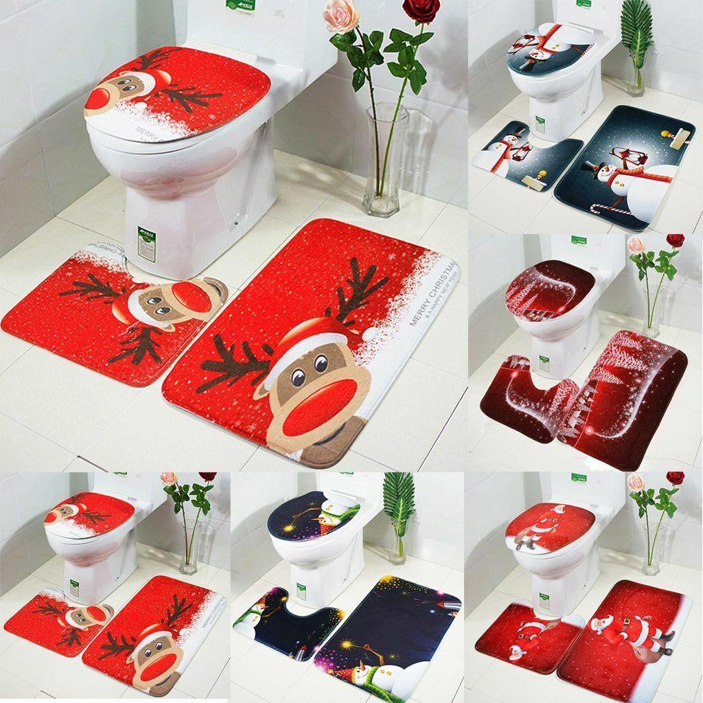 Home Decor Pedestal Rug Bathroom Mat Set Bath Mats Toilet Seat Lid Cover