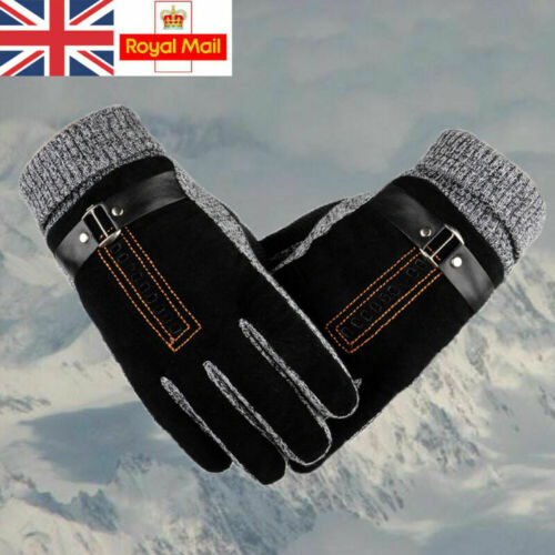 Mittens Mens Winter Leather Gloves Thick Warm Fleece Windproof Gloves Driving UK
