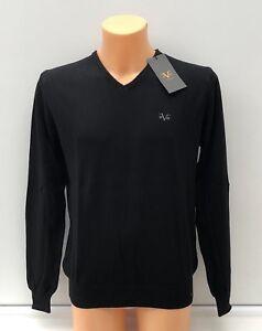 Versace-1969-ligero-con-el-logotipo-bordado-en-negro-con-cuello-en-V-Jersey-S-L-XL-XXL-BNWT