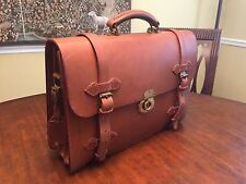 Vintage Heavy Tan Saddle Leather Briefcase / Messenger Bag - Made In England