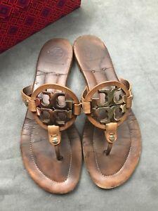 32f07a0d9e1930 TORY BURCH Miller 2 Vintage Royal Tan Gold Logo Sandal SOLD OUT ...