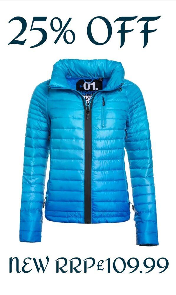 * 25% Off * Nouveau Rrp £ 109.99 Large 14 Femme Superdry Power Fade Veste D'hiver Bleu