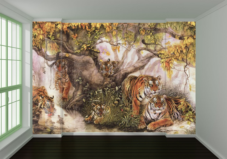 3D tigre 144 Parete Murale Foto Carta da parati immagine sfondo muro stampa