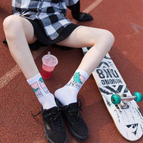 Girls Women Hip Hop Long Cotton Socks Funny Cartoon Dinosaur Japanese Characters