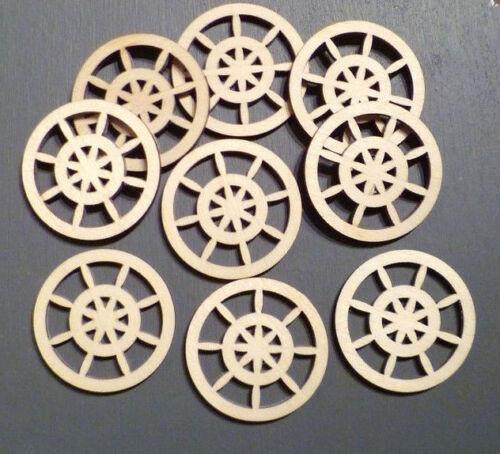 10 x Wooden Craft Wheel shapes Spinning Wheels Card Making Model Wheels 8cm