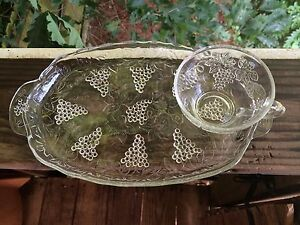 Vintage Clear Glass Serving Snack Tray With Tea Cup And Grape ...