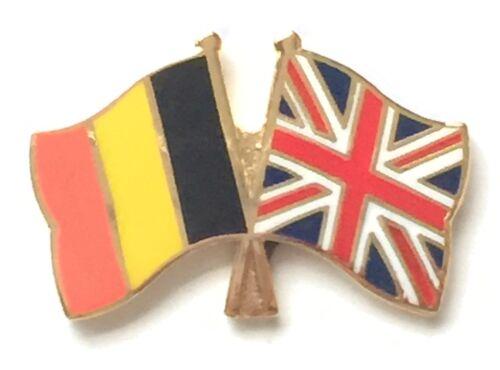 Belgium /& Great Britain Flags Friendship Courtesy Enamel Lapel Pin Badge