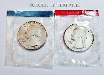 2 Coins *MINT CELLO*  **FREE SHIP** 1981 P /& D Washington Quarter Coin Set