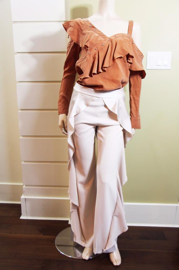 AUTH NEW ALice Olivia Wallace Side Ruffle Pants in Ivory  395