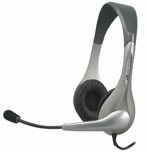 Cyber Acoustics AC-202B Silver Stereo Headset /& Microphone