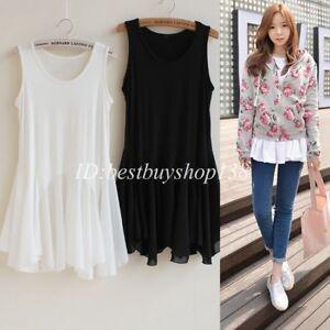 Women-Tank-Tops-Tunic-Chiffon-Trim-Extender-Shirt-Sleeveless-White-Black