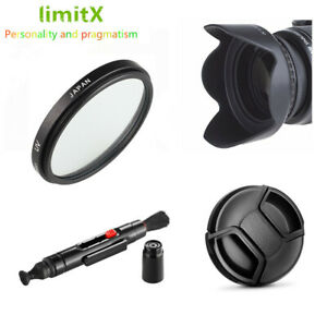 Bundle Kit 55mm UV Filter Lens hood Cap Cleaning pen for Camera and Lenses