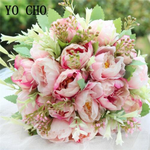 Bridal Wedding Bouquet Bridesmaids Holding Flower Artificial Silk Peony Pink