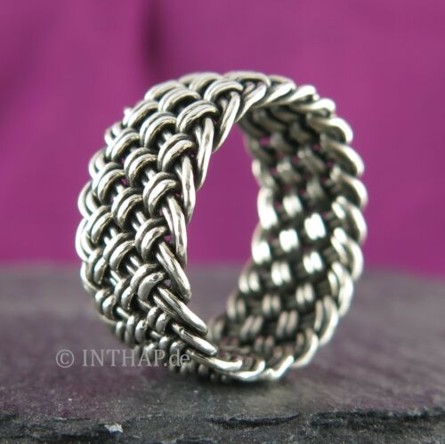 925 Silber Ring - Silberring Ringgeflecht Damenring Herrenring Bandring  Ino1b