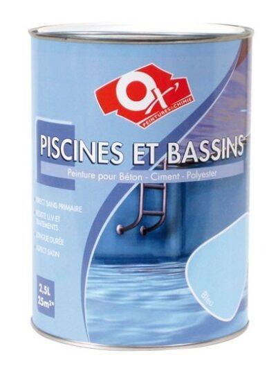 PEINTURE PISCINE BASSIN 2.5L BLEU OXI compatible eau chlorée eau de mer