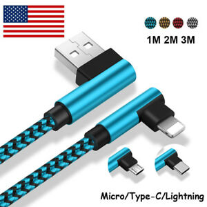 US-USB-Cable-For-iPhone-5-6-7-8-Plus-X-Braided-90-Degree-Lightning-Micro-Charger