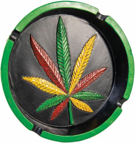 """6/"""" Polyresin Rasta Hemp Leaf Round Ashtray"""