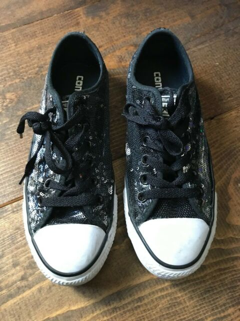 Converse Women's Shoes Chuck Taylor Size 7 All Star Black Sequin Sneaker Lace Up