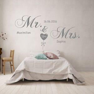 Wandtattoo Schlafzimmer Mr und Mrs mit Wunsch-Namen und Datum Spruch ...