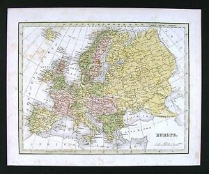 1835 Bradford Map Europe Spain Italy Greece France Germany