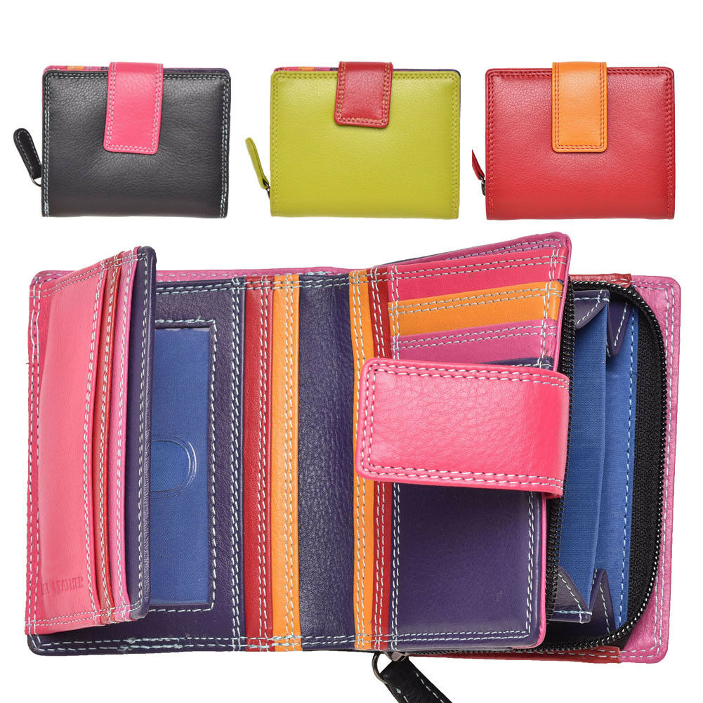 Ladies Compact Leather Purse in Multi Colours RFID Blocking Zipped Coin Holder