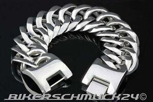 Grosses-Biker-Armband-in-Mammut-Groesse-4XL-massiv-schwer-Edelstahl-ca-3-2cm-breit