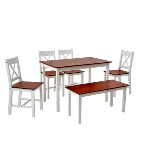 6PCS Set Solid Wood Brown Dining Table and 4 Chairs Bench Set Home Furniture