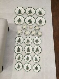 Spode-Christmas-Tree-DISH-SET-31-Piece-6-PLACE-Settings-England-Plate-Dessert