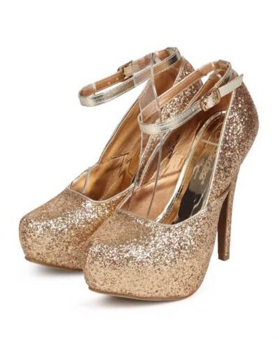 New Women DbDk Aki-2 Glitter Almond Toe Ankle Strap Platform Stiletto Pump Size