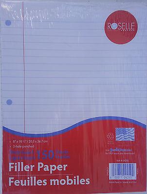"LOOSE-LEAF FILLER PAPER WIDE RULED 3 Hole Punched 8""x 10.5"" 150 Sheets"