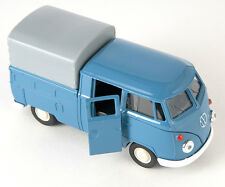 BLITZ VERSAND VW T1 Double Cabin Pick Up blau blue Welly Modell Auto 1:34 NEU h