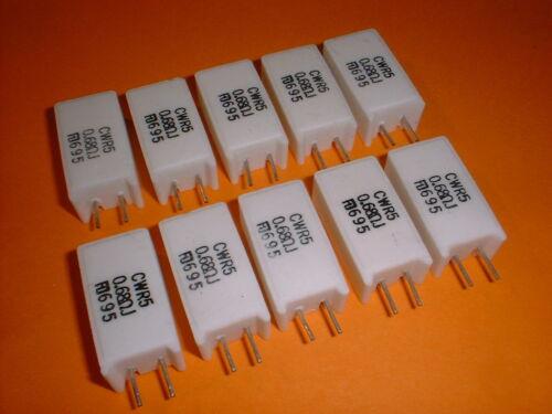 10x 0,68 Ohm 5 Watt Wirewound Power Widerstand CWR5