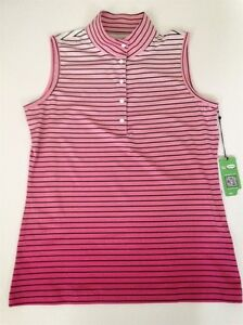 Sleeveless-Golf-Shirt-Gradient-shades-of-pink-with-black-stripes-Small