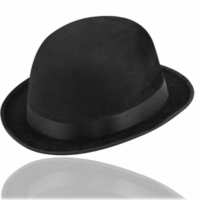 BLACK VELOUR BOWLER DERBY POSH GENTLEMAN CHARLIE CHAPLIN HAT FANCY DRESS QR17